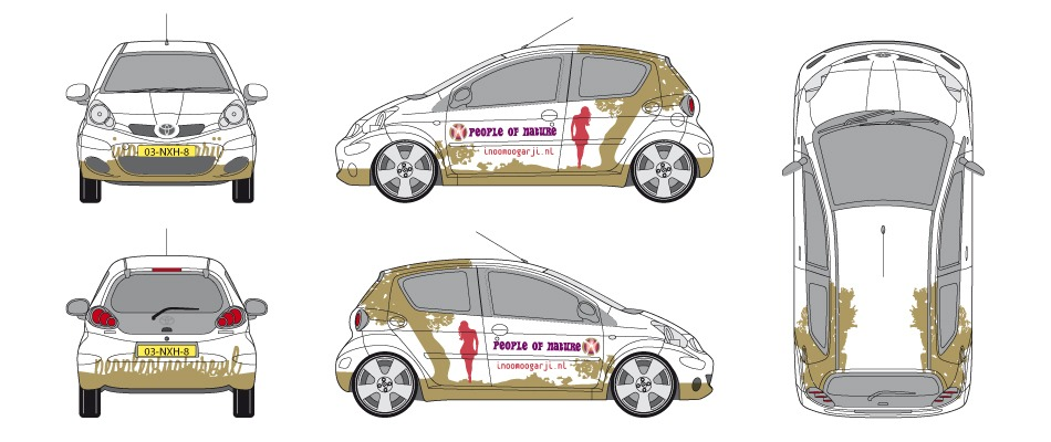 ontwerp-autobelettering-Toyota-Aygo-People-of-Nature-Inoomoogarji-the-Sane-Spot-Designstudio